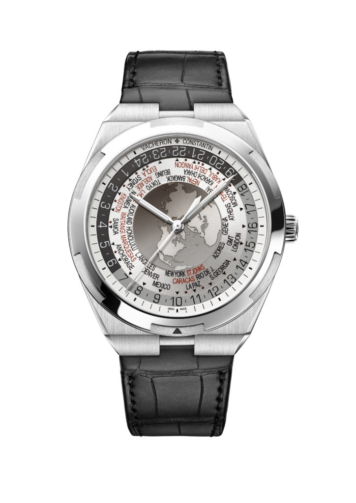 World Time Overseas cadran gris7700V-110A-B129bracelet cuir relojes