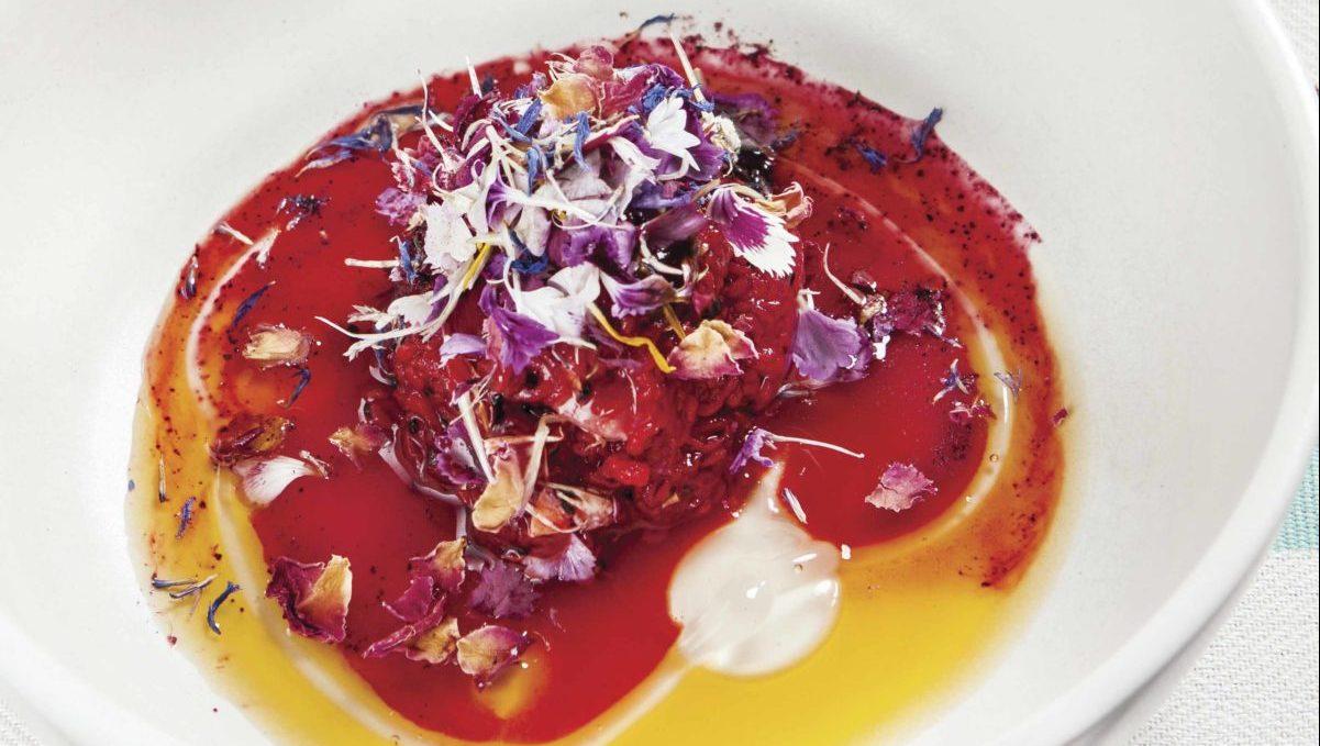 Pitahaya floreada con gelatina