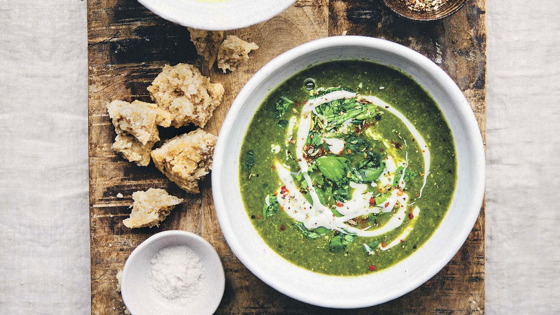 Green Soup Quinoa con chícharos