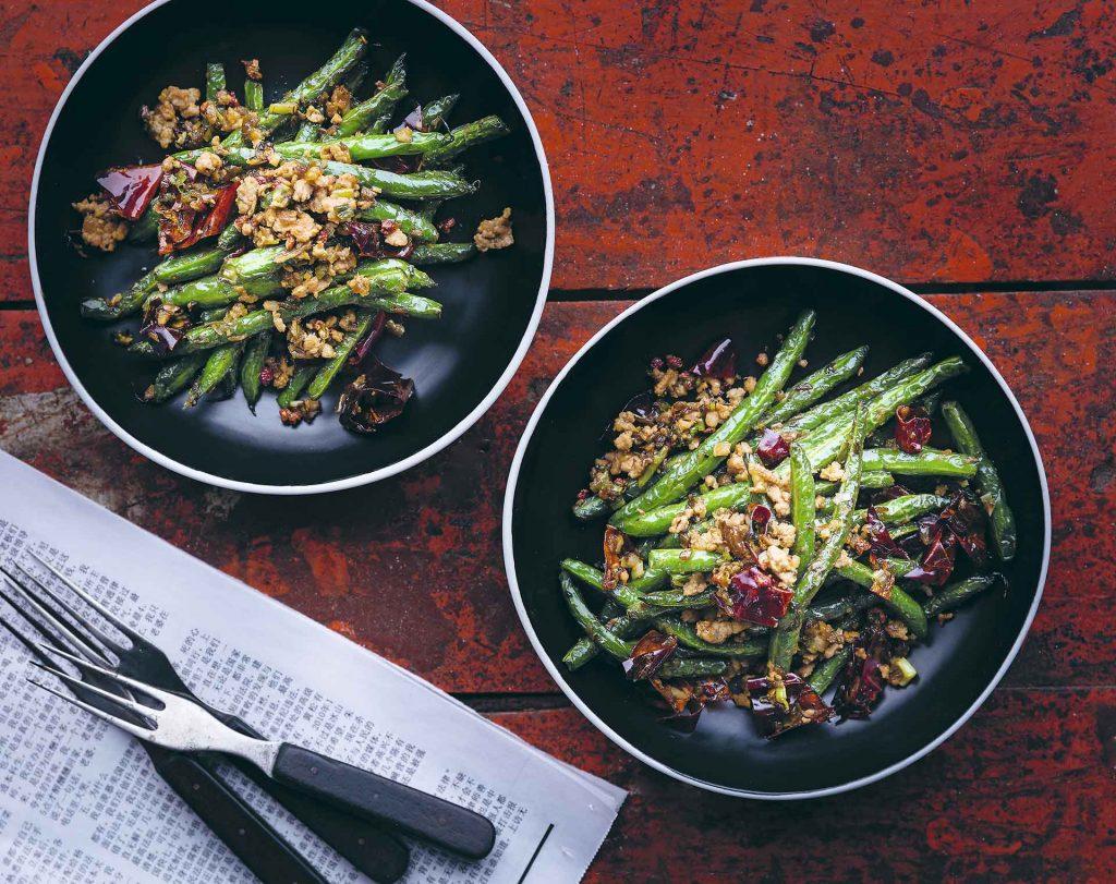 Ejotes con carne de cerdo y pimienta de Sichuan