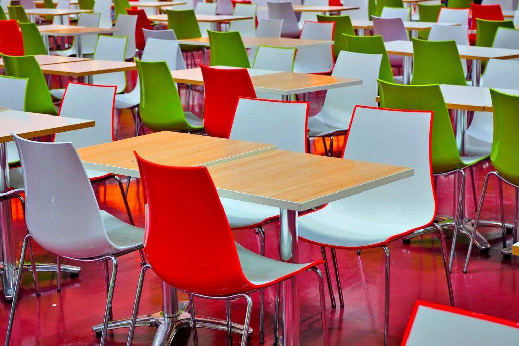 colores en la comida mesas